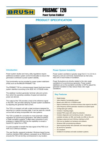 PRISMIC ®  T20 Power System Stabilizer
