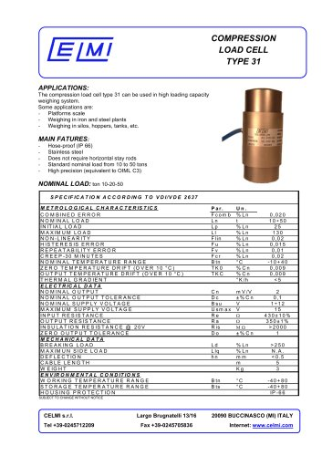 COMPRESSION LOAD CELL TYPE 31