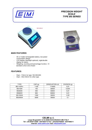 PRECISION WEIGHT SCALE TYPE BS SERIES