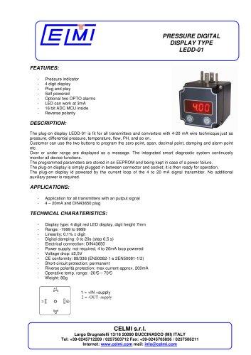 PRESSURE DIGITAL DISPLAY TYPE LEDD-01