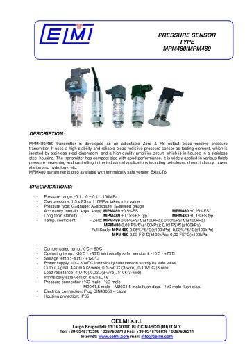 PRESSURE SENSOR TYPE MPM480/MPM489