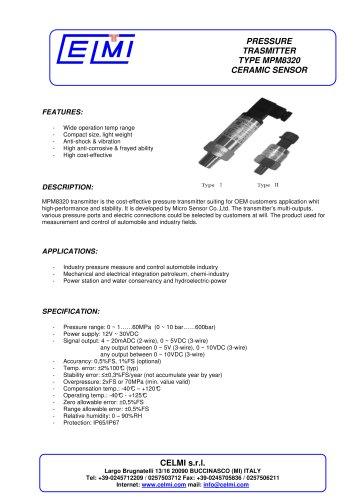 PRESSURE TRASMITTER TYPE MPM8320 CERAMIC SENSOR