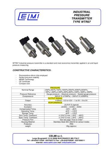 WTR07 Industrial pressure transmitter