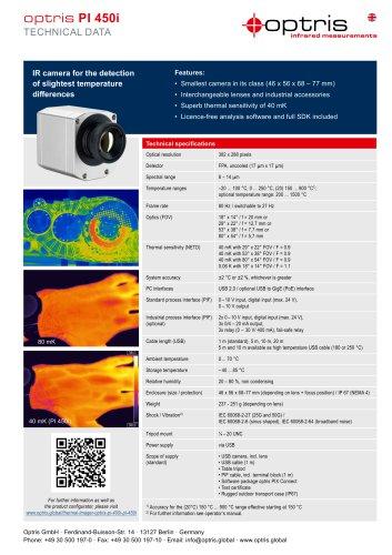 Infrared camera optris PI 450i