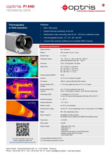 Infrarotkamera optris PI 640