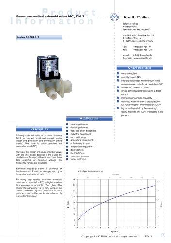 01.007.111 Servo-controlled solenoid valve NC, DN7