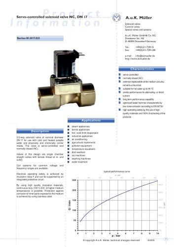01.017.521 Servo-controlled solenoid valve NC, DN 17