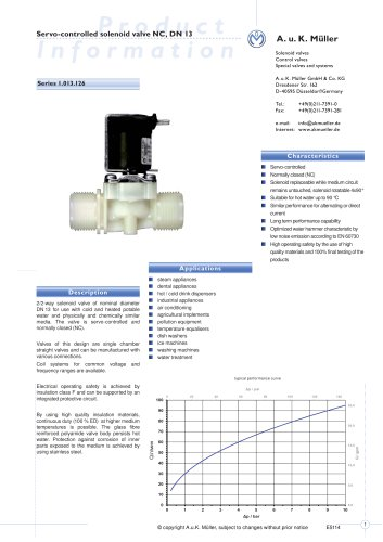 1.013.126 Servo-controlled solenoid valve NC, DN 13