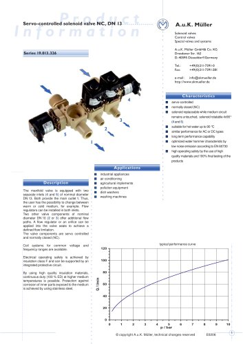 19.013.326 Servo-controlled solenoid valve NC, DN 13