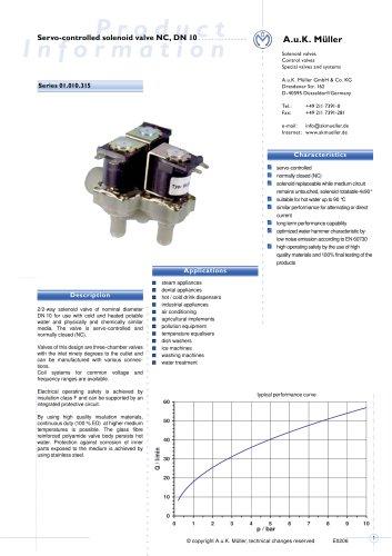 Servo-controlled solenoid valve NC, DN 10