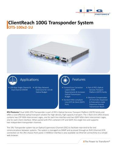 ClientReach 100G Transponder System OTS-100x2-1U