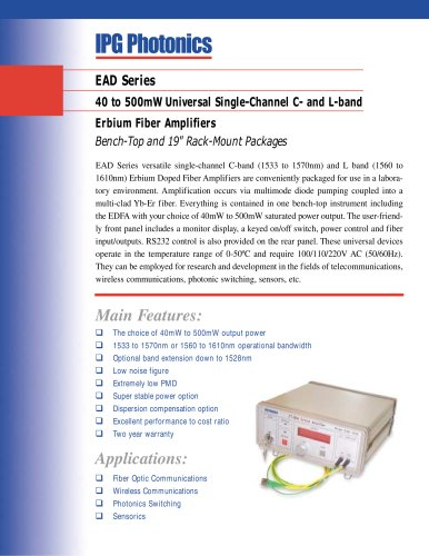 EAD Series: 40 to 500mW Single C- and L-Band Erbium Fiber Amplifiers