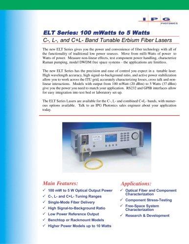 ELT Series: 100 mW to 25W C+L Band Tunable Erbium Fiber Lasers