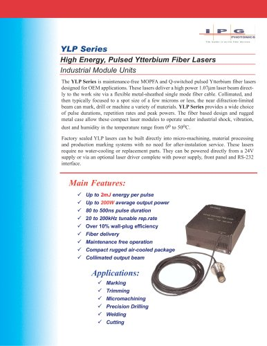 YLP Series 0.1 to 2mJ Pulsed Ytterbium Fiber Lasers