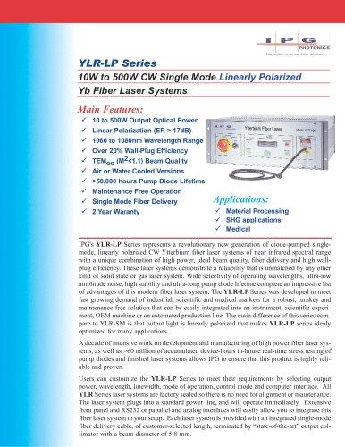 YLR- LP Series: 10 to 500W Single Mode Linearly Polarized Ytterbium Fiber Laser
