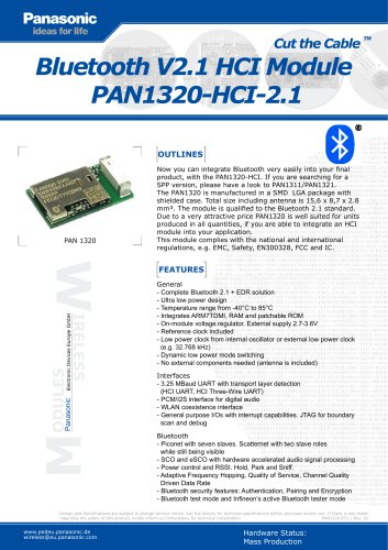 Bluetooth V2.1 HCI Module  PAN1320-HCI-2.1