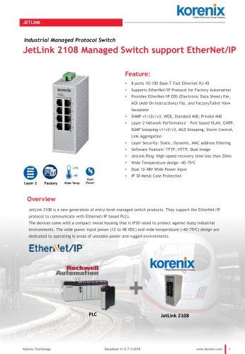 JetLink 2108 Managed Switch support EtherNet/IP