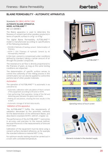 AUTOBLAINE PLUS for automatic blaine tests of cements
