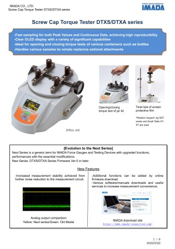 Screw Cap Torque Tester (Torque Gauge) DTXS/DTXA series