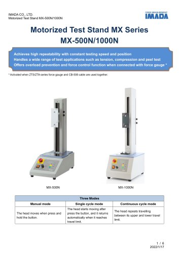 Simple Type Vertical Motorized Test Stand MX series