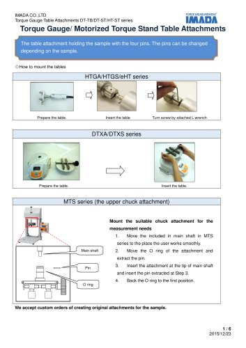 Specification for Torque Gauge Table Attachment