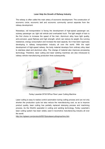 Farley Laserlab Laser Cutting Machine Help Railway Industry