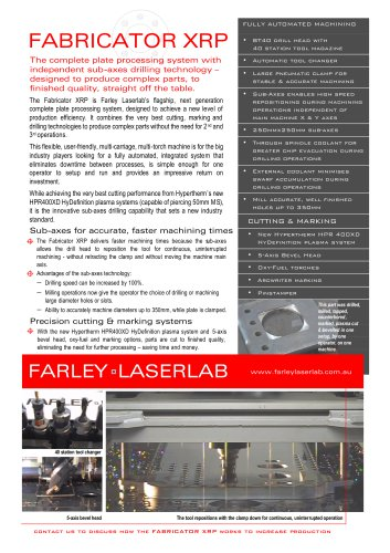 Farley Laserlab XRP Brochure Plasma Cutting Machine