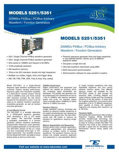 Model 5251/5351  250MS/s PXIBus/PCIBus Arbitrary Waveform Generator