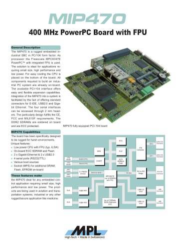 PCI-104 embedded PowerPC CPU board with FPU
