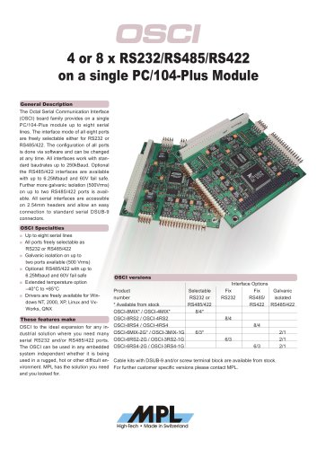 Serial PC/104-Plus card with RS232, RS422/ RS485 ports