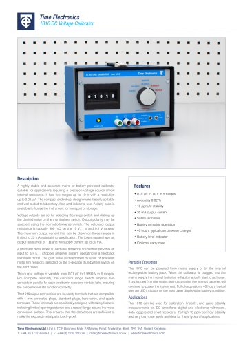 1010 DC Voltage Calibrator Data Sheet