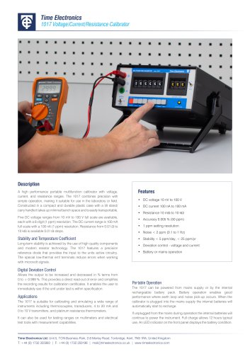 1017 DC Multifunction V/I/R Calibrator Data Sheet