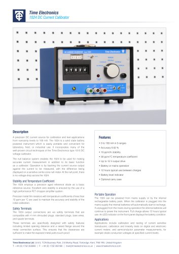 1024 DC Current Calibrator Data Sheet