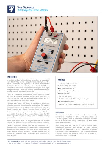 1044 Handheld DC Voltage Calibrator Data Sheet