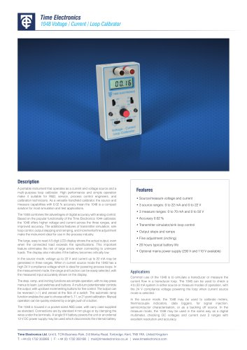 1048 Handheld Voltage / Current / Loop Calibrator Data Sheet