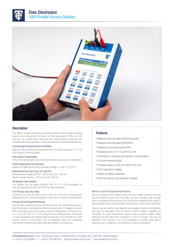1090 Portable Process Calibrator Data Sheet