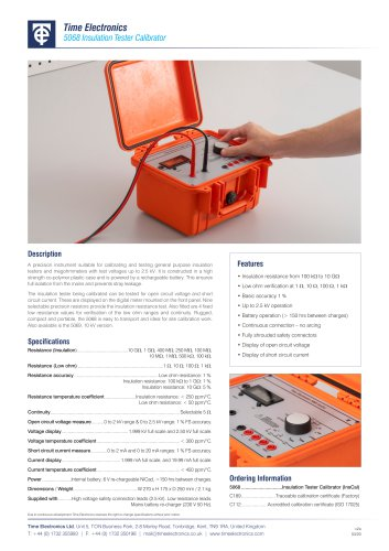 5068 Megohmmeter and Insulation Tester Calibrator Data Sheet