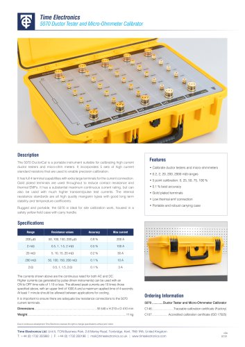 5070 Micro-Ohmmeter and Ductor Tester Calibrator Data Sheet