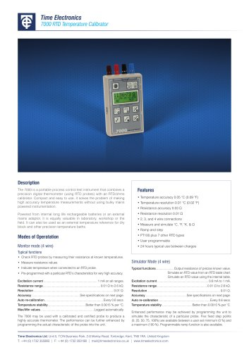 7000 RTD Temperature Calibrator Data Sheet