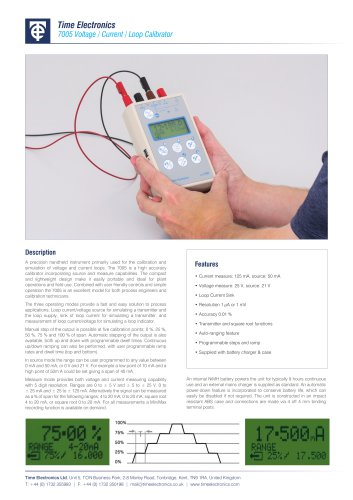 7005 Voltage / Current / Loop Calibrator Data Sheet