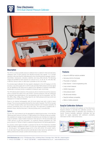 7015 Dual Channel Pressure Calibrator