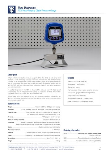 7078 Auto-Ranging Digital Pressure Gauge Data Sheet