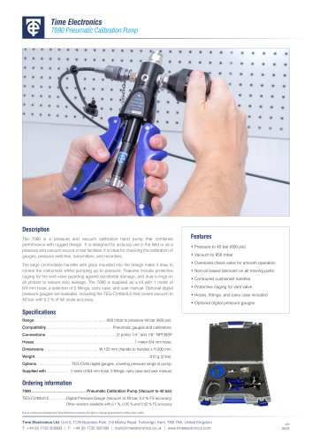7090 Pneumatic Calibration Hand Pump Data Sheet
