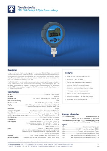 7091 Digital Pressure Gauge Data Sheet