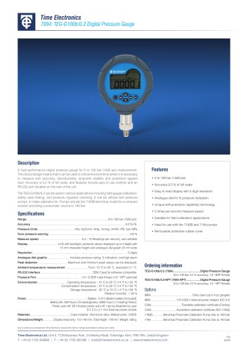 7094 Digital Pressure Gauge Data Sheet