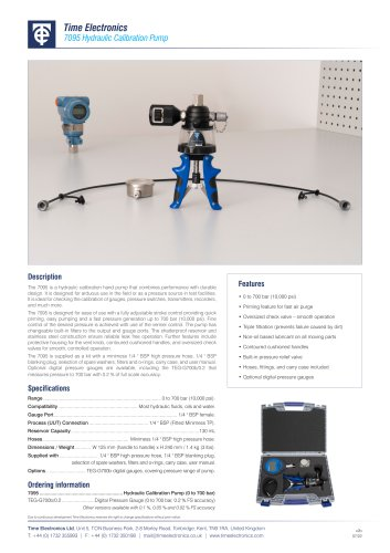7095 Hydraulic Calibration Hand Pump Data Sheet