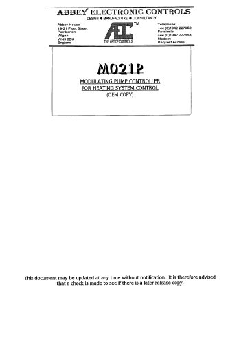 M021P MODULATING PUMP CONTROLLER
