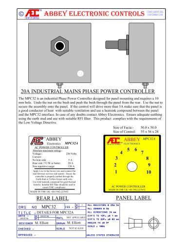 MPC32A INDUSTRIAL PHASE ANGLE POWER (DIMMER) CONTROL