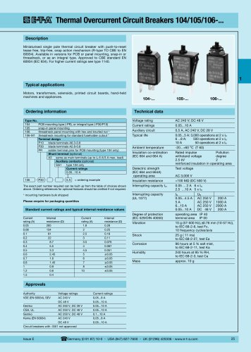 ZYB10 E-T-A P106 40MA RESETABLE THERMAL CIRCUIT BREAKER