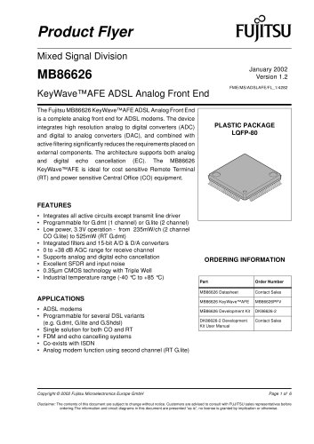 ADSL Modem Products: MB86626 Product Flyer